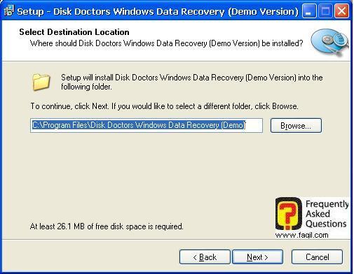 בחירת מיקום היעד  להתקנה,תוכנת  Disk Doctors Windows Data Recovery (FAT)