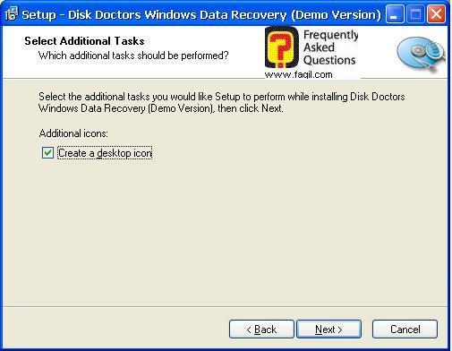 יצירת קיצור דרך בשולחן העבודה,תוכנת  Disk Doctors Windows Data Recovery (FAT)