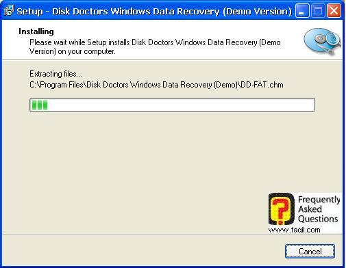 ההתקנה החלה,תוכנת  Disk Doctors Windows Data Recovery (FAT)