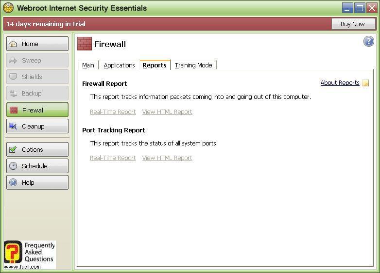 חומת האש, לשונית דוחות Werboot Internet Security