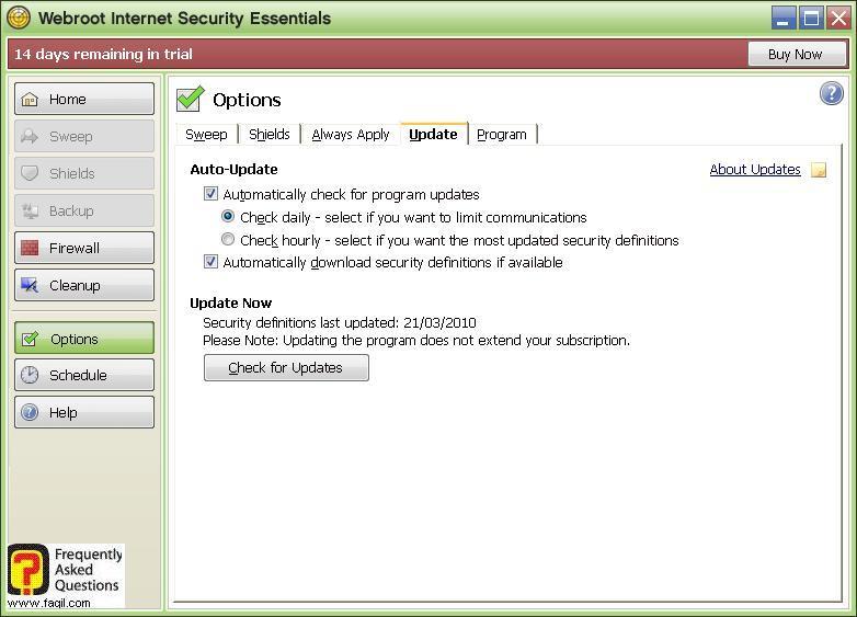 אפשרויות לשונית  עדכון Werboot Internet Security