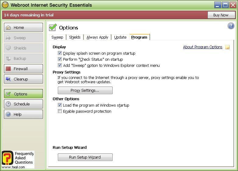 אפשרויות לשונית תוכנית -Werboot Internet Security