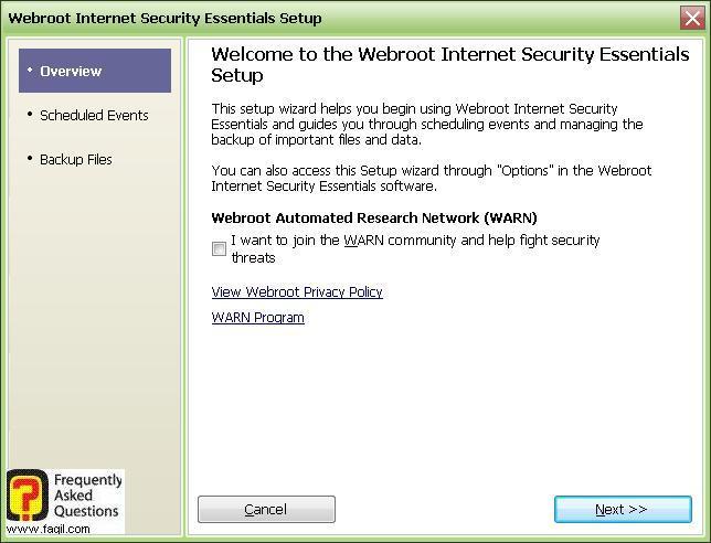 מסך ברוכים הבאים למרכז האבטחה -Werboot Internet Security