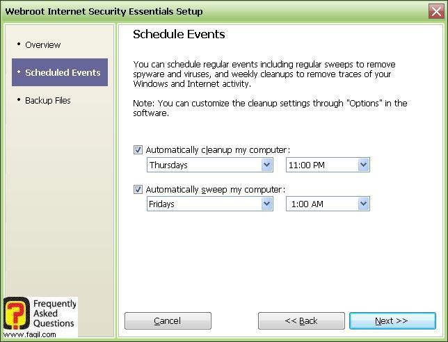 מסך בחירת זמן לסריקה-Werboot Internet Security