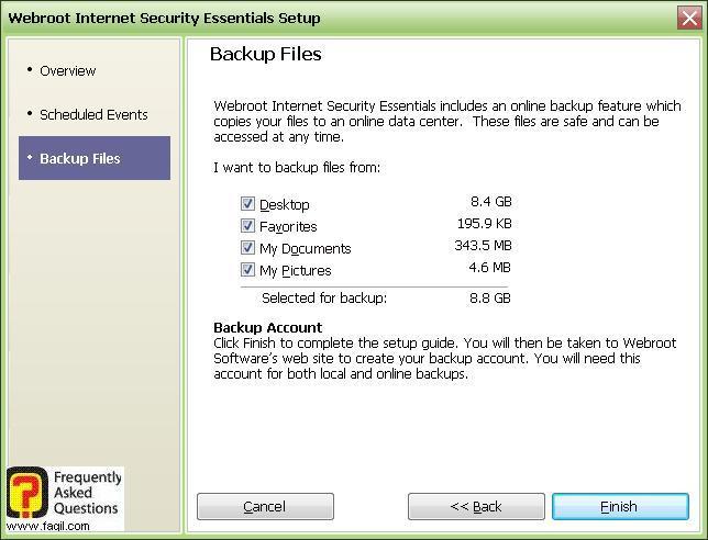 מסך גיבוי מסמכים -Werboot Internet Security
