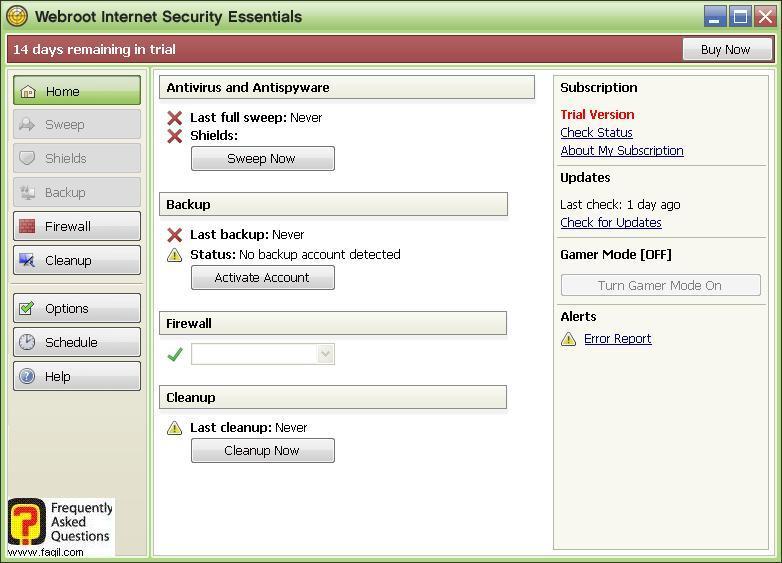 מסך מרכז האבטחה -Werboot Internet Security