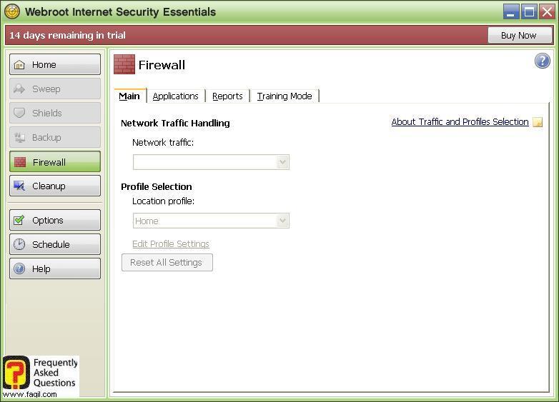 חומת אש, לשונית עיקרי-Werboot Internet Security
