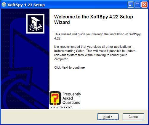 מסך ברוכים הבאים להתקנה,תוכנת XoftSpy 4.2