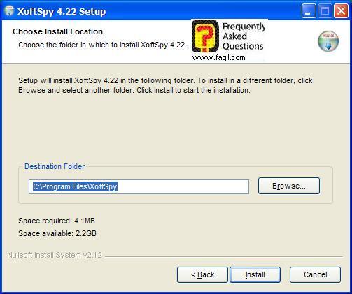 מסך מיקום היעד להתקנה,תוכנת XoftSpy 4.2