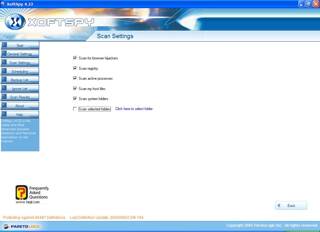 הגדרות סריקה,תוכנת XoftSpy 4.2