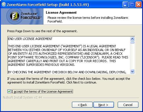 הסכם הרישיון  להתקנה,ForceField