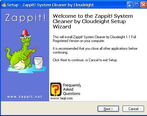 מסך ברוכים הבאים להתקנה,תוכנת Zappit