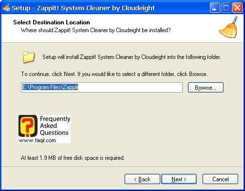 מסך מיקום היעד להתקנה,תוכנת Zappit