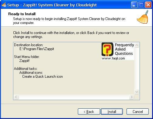 מסך קרא לפני ההתקנה,תוכנת Zappit