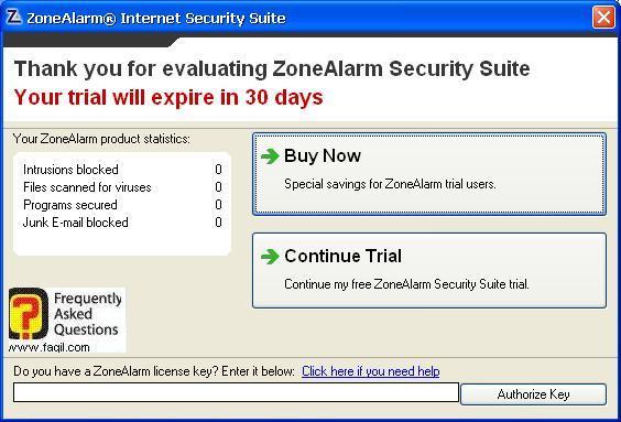 אפשרויות שימוש קנייה או לניסיון,מרכז האבטחה של צ'ק פוינט-ZoneAlarm Security Suite