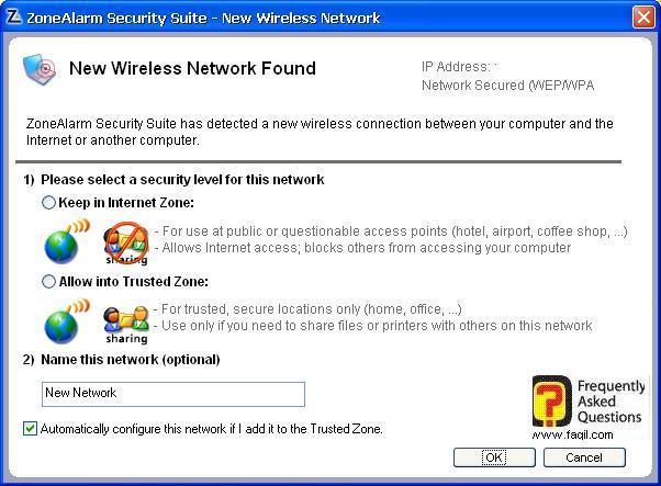 חיבור רשת אלחוטית חדשה,מרכז האבטחה של צ'ק פוינט-ZoneAlarm Security Suite