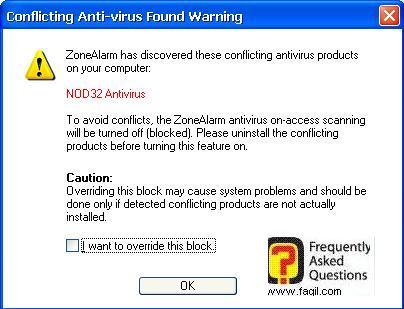 אזהרה על התנגשויות ,מרכז האבטחה של צ'ק פוינט-ZoneAlarm Security Suite