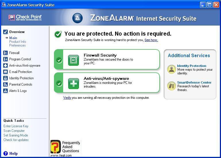 מסך  ראשי,מרכז האבטחה של צ'ק פוינט-ZoneAlarm Security Suite