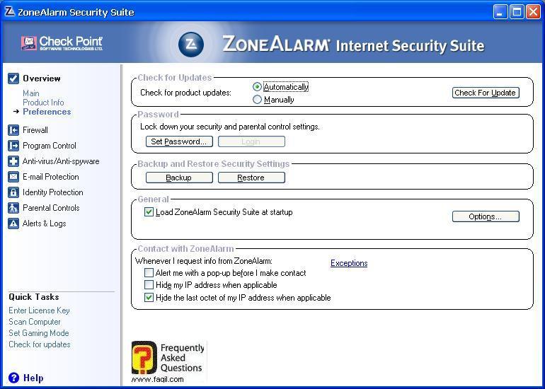 מסך העדפות,מרכז האבטחה של צ'ק פוינט-ZoneAlarm Security Suite