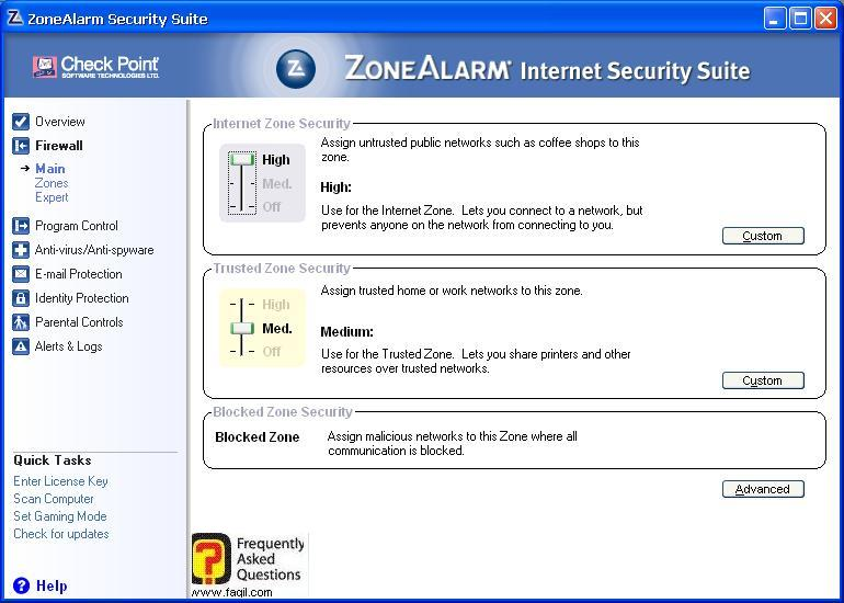 הגדרות  עיקריות חומת אש,מרכז האבטחה של צ'ק פוינט-ZoneAlarm Security Suite