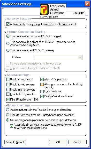 הגדרות מתקדמות,מרכז האבטחה של צ'ק פוינט-ZoneAlarm Security Suite