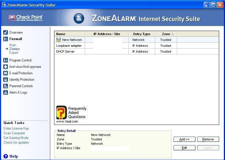 החיבורים המאושרים,מרכז האבטחה של צ'ק פוינט-ZoneAlarm Security Suite