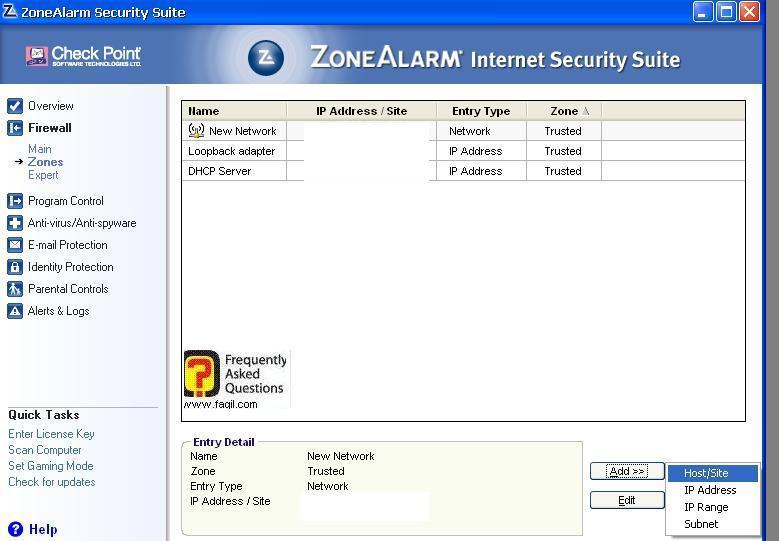 אפשרות להוספת חיבורים מאושרים,מרכז האבטחה של צ'ק פוינט-ZoneAlarm Security Suite