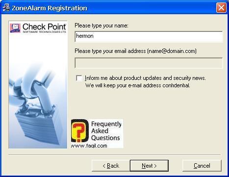בחירת שם להתקנה,מרכז האבטחה של צ'ק פוינט-ZoneAlarm Security Suite