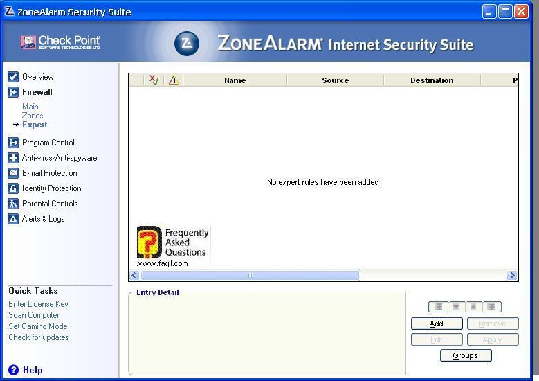 הגדרות מומחה,מרכז האבטחה של צ'ק פוינט-ZoneAlarm Security Suite
