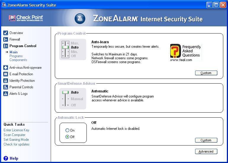 הגדרות   תוכנית מלאה,מרכז האבטחה של צ'ק פוינט-ZoneAlarm Security Suite