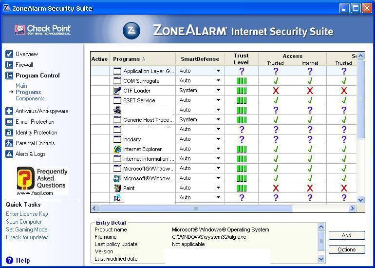 לשונית תוכניות פועלות ברקע,מרכז האבטחה של צ'ק פוינט-ZoneAlarm Security Suite