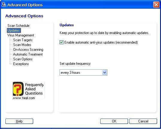 הגדרות כל כמה זמן יתעדכן האנטוירוס,מרכז האבטחה של צ'ק פוינט-ZoneAlarm Security Suite