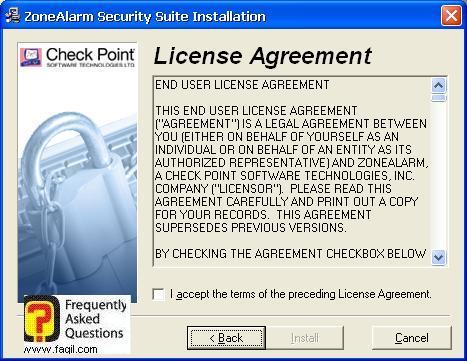 הסכם הרישיון להתקנה,מרכז האבטחה של צ'ק פוינט-ZoneAlarm Security Suite
