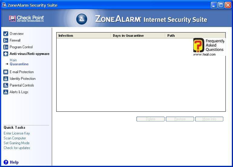 הקבצים המזיקים שנמצאו באנטיוירוס,מרכז האבטחה של צ'ק פוינט-ZoneAlarm Security Suite