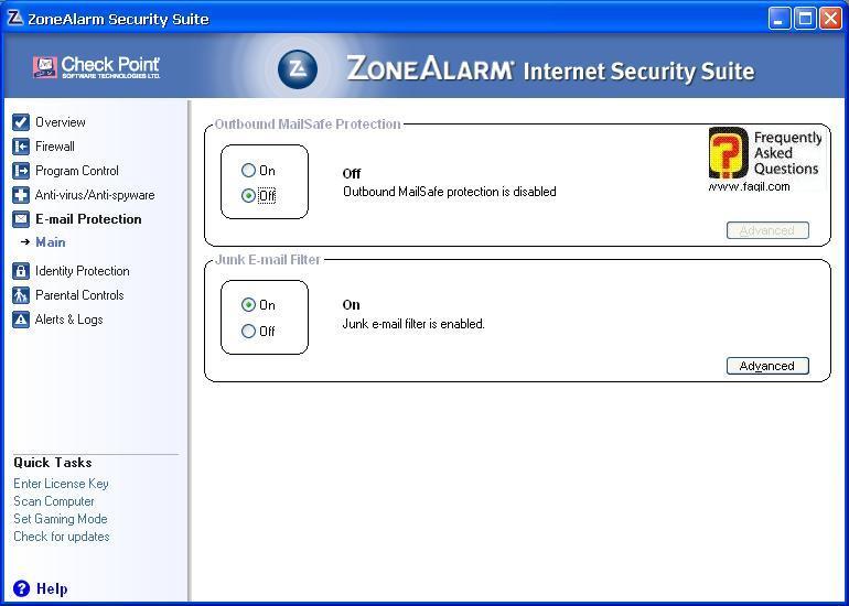 סריקת האימיילים,מרכז האבטחה של צ'ק פוינט-ZoneAlarm Security Suite