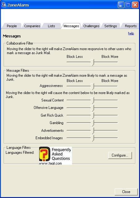 הגדרות מה מותר שיהיה באימייל ומה לא,מרכז האבטחה של צ'ק פוינט-ZoneAlarm Security Suite