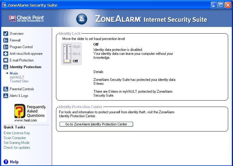 כלי זהות נעילה,מרכז האבטחה של צ'ק פוינט-ZoneAlarm Security Suite