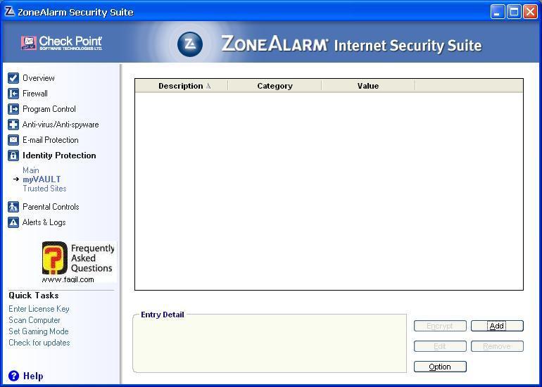 הערכים שלי בכלי זהות נעילה,מרכז האבטחה של צ'ק פוינט-ZoneAlarm Security Suite