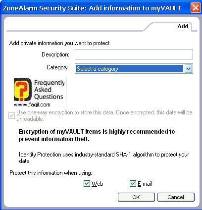 תיאור וקטגוריה בכלי זהות נעילה,מרכז האבטחה של צ'ק פוינט-ZoneAlarm Security Suite