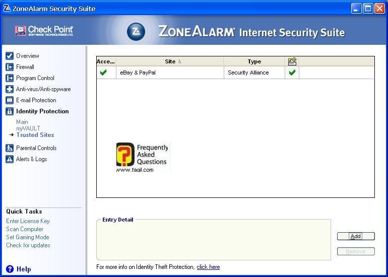 הוספת אתרים מאומתים ,מרכז האבטחה של צ'ק פוינט-ZoneAlarm Security Suite