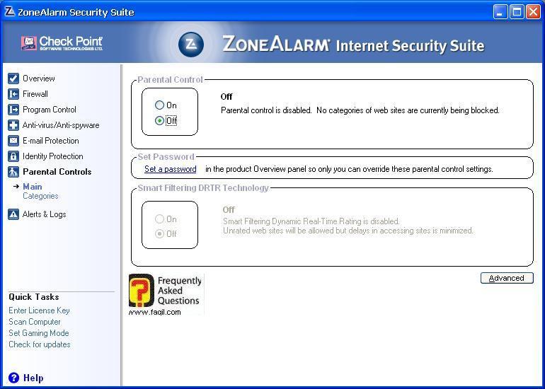 מערכת שליטת הורים,מרכז האבטחה של צ'ק פוינט-ZoneAlarm Security Suite