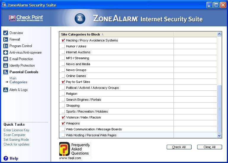 קטגוריות של דברים שמותר ושלא,מרכז האבטחה של צ'ק פוינט-ZoneAlarm Security Suite