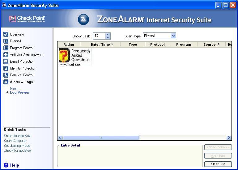 הצגת דוחות,מרכז האבטחה של צ'ק פוינט-ZoneAlarm Security Suite