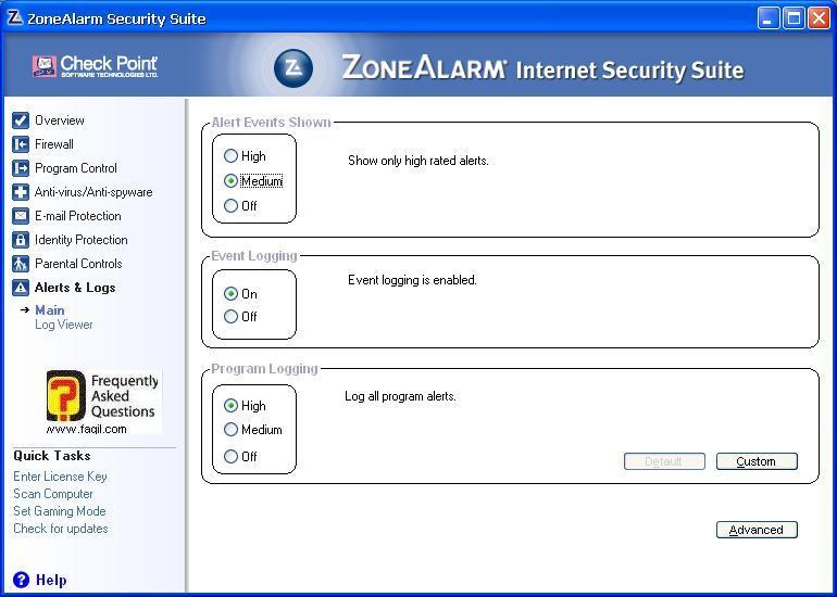 על מה יוצג בדוחות,מרכז האבטחה של צ'ק פוינט-ZoneAlarm Security Suite