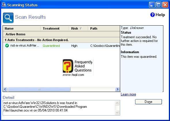 תוצאות סריקה של האנטיוירוס,מרכז האבטחה של צ'ק פוינט-ZoneAlarm Security Suite