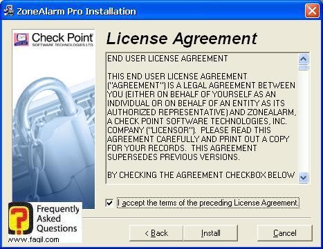 הסכם הרישיון  להתקנה,חומת האש של צ'ק פוינט (Check Point) 2010