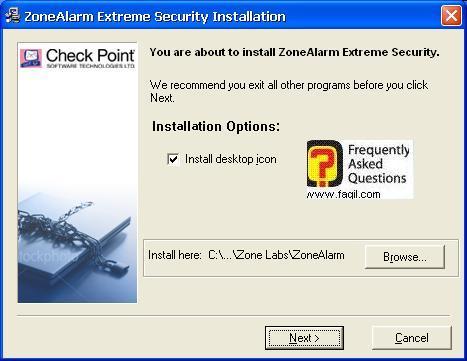 מיקום היעד להתקנה,מרכז האבטחה של צ'ק פוינט-ZoneAlarm Security Suite