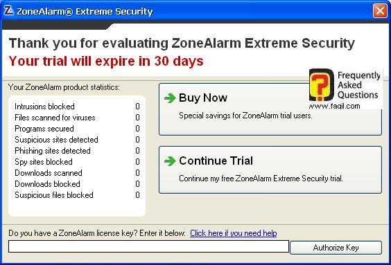 אפשרויות השימוש לניסיון או לקנייה, ZoneAlarm Extreme Security-חומת אש ואנטיוירוס