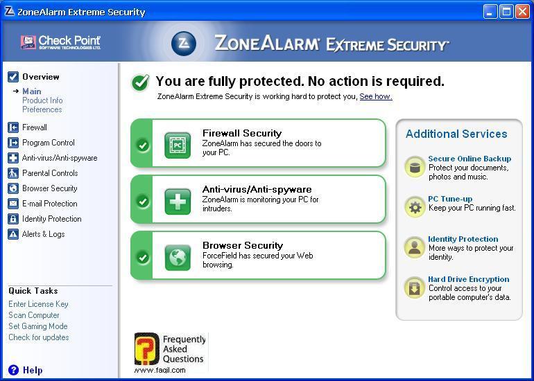 מסך ראשי, ZoneAlarm Extreme Security-חומת אש ואנטיוירוס
