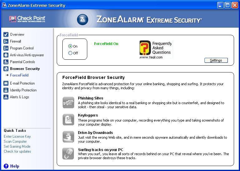 מניעת פישינג, ZoneAlarm Extreme Security-חומת אש ואנטיוירוס